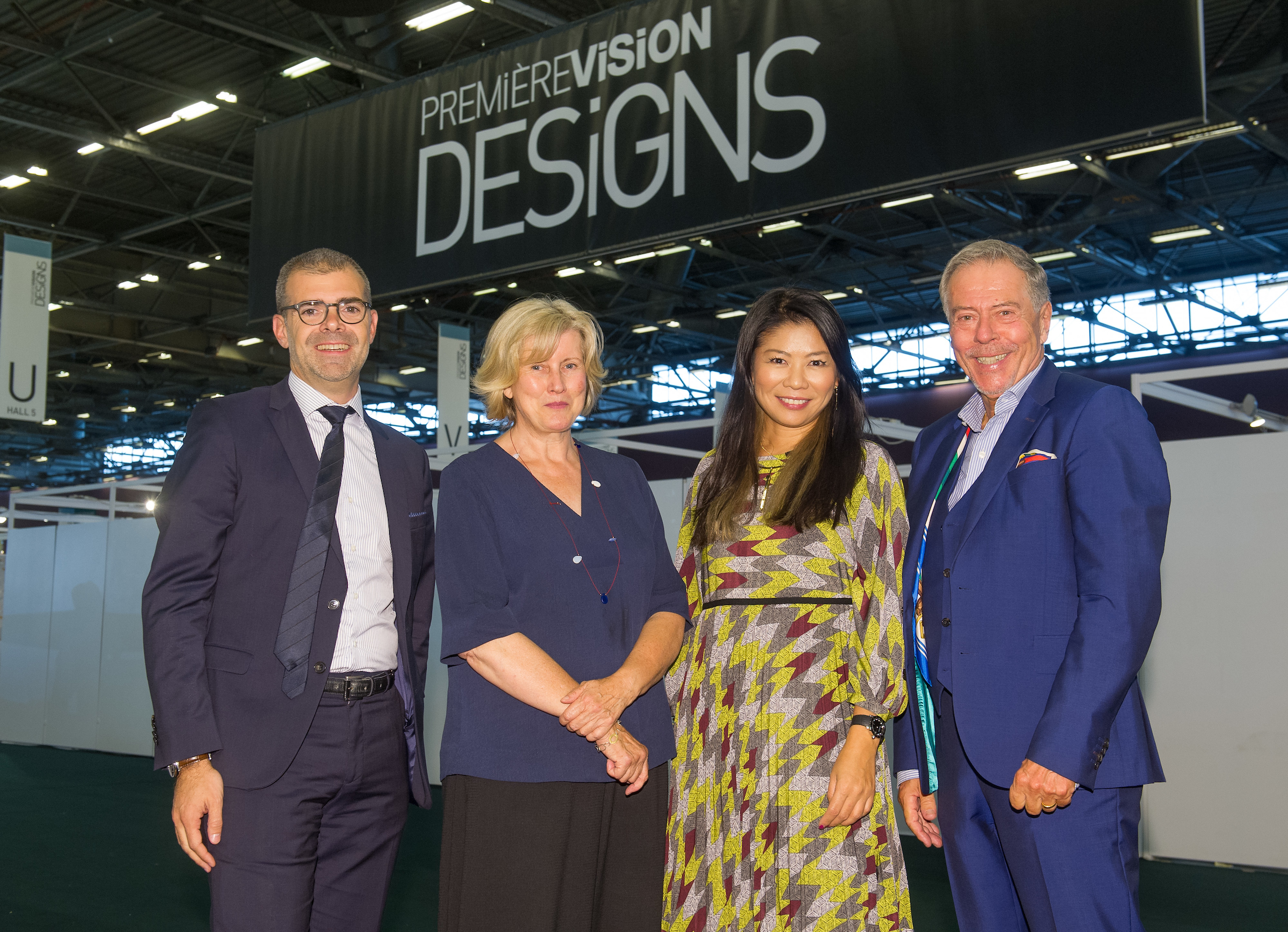 L-R: Gilles Lasbordes, Barbara Kennington, Yuma Koshino, Peter Ring-Leferves Texprint at Premiere Vision, Paris, France