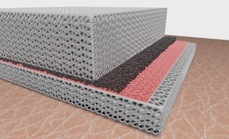 Rappresentazione artistica del tessuto bimodale: tra i due strati esterni polietilenici nanostrutturati si può notare l'emettitore in rosso (Credit: Hsu et al., Sci. Adv. 2017;3: e1700895)